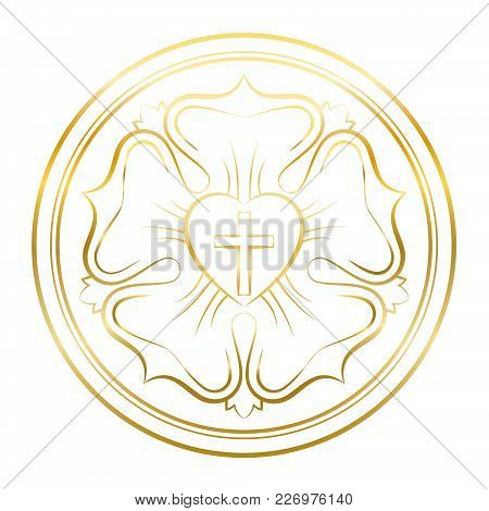 Luther Rose Symbol. Golden Illustration On White Background. Martin Luther Seal, Symbol Of Lutherani