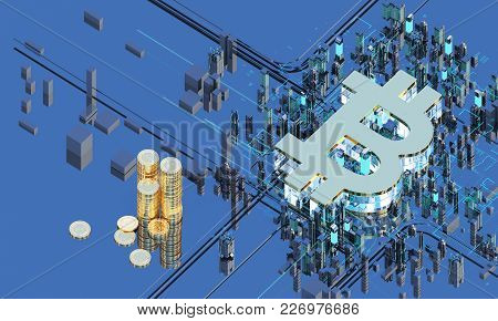 Business City Bitcoin 3d Illustration Of Bitcoin Symbol Rising From Modern City On The Waterfront Fu