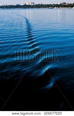 Sea Of Blue Color, Wave, Sun Reflection, Abstraction, Art, Way Home, Concept Of Summer Rest On A Yac