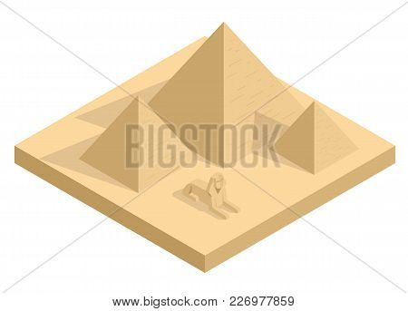 Isometric Great Sphinx Including Pyramids Of Menkaure And Khafre In White Background. Giza, Cairo, E