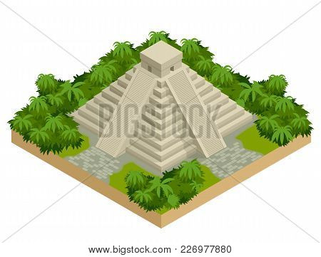 Isometric Mayan Pyramid Isolated On White. Vector Travel Banner. The Teotihuacan Pyramids In Mexico,