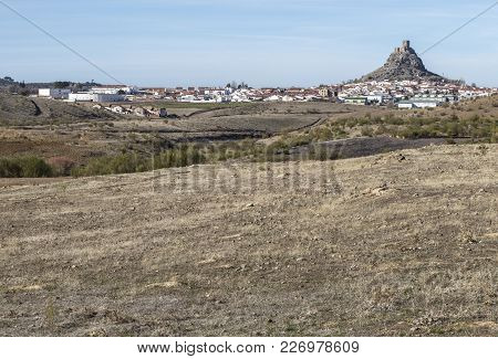 Outcrop Rocky Hill With Castle, Cordoba, Spain. Situated On The High Rocky Hill Overlooking Town Of