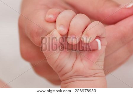 Mother Holding Newborn Baby's Hand