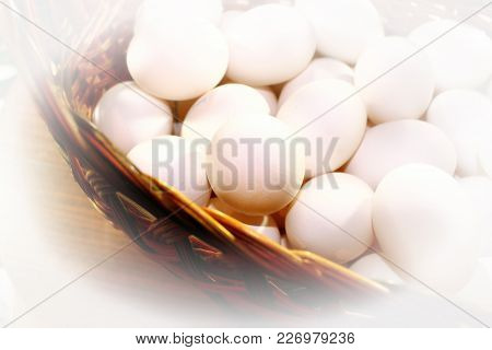 White Chicken Eggs In A Basket Close-up Of Vignette, Agriculture
