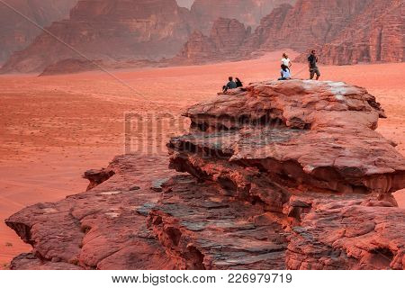 Wadi Rum, Jordan - May 11, 2013: Unknown People Enjoying The Beautiful Scenery Of The Desert Of Wadi