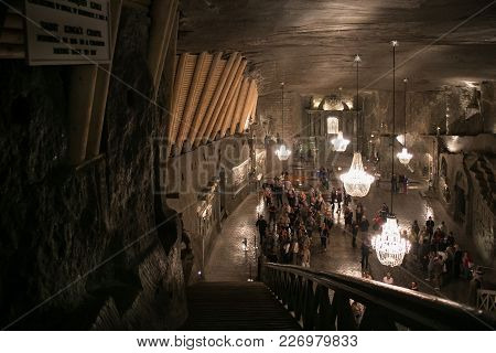 Wieliczka, Poland - May 28, 2016:  St. Kinga's Chapel In The Wieliczka Salt Mine. Opened In The 13Th