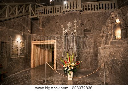 Wieliczka, Poland - May 28, 2016: Sculpture Of Pope John Paul Ii In The Wieliczka Salt Mine. Opened