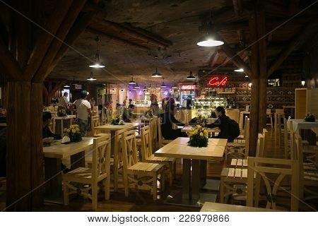 Wieliczka, Poland - May 28, 2016: Restaurant In The Wieliczka Salt Mine. Opened In The 13Th Century,