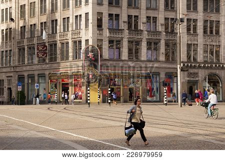 Amsterdam, Netherlands - June 25, 2017: View To The Madame Tussauds Amsterdam Wax Museum. It Is Loca