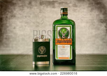 Yoshkar-ola, Russia - February 15, 2018 Jagermeister, German Digestif Made With 56 Herbs And Spices