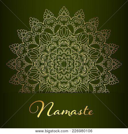 Flyer Or Brochure Template With Golden Mandala Pattern. Yoga Classes Banner. Namaste Inscription Mea