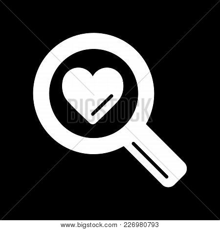 Magnifier With Heart Vector Icon, Search Icon, Flat Design Best Vector Magnifier Illustration. Solid