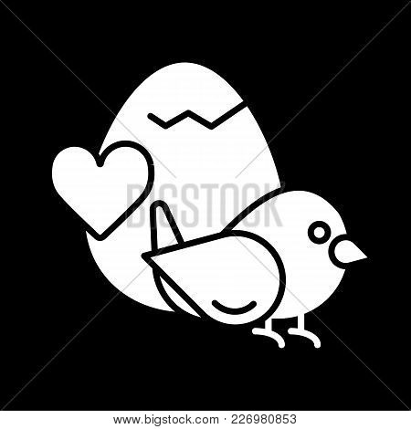 Bird Love. Bird With Egg And Heart Isolated On Black. Valentine Day Concept. Solid Linear Vector Ico
