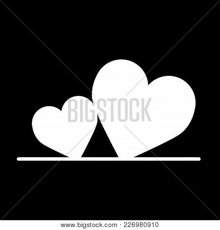 Two Hearts Vector Icon. Valentine Day Concept. Simple Linear Flat Illustration Isolated On Black. So