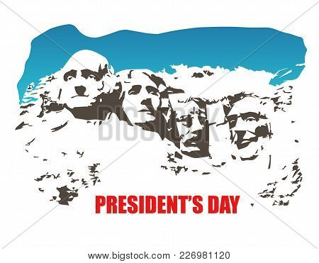 Rushmore Vector. Presidents Day. Sculpture At Us National Memorial Park In Colors Of American Flag
