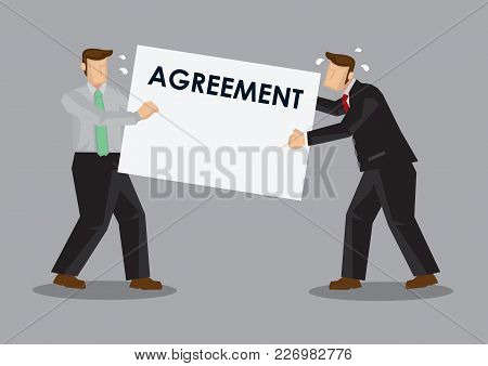 Business Professionals Having Dispute Over Agreement Contract. Cartoon Vector Illustration On Busine