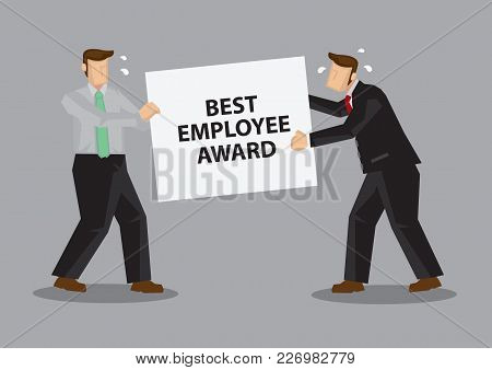 Business Professionals Fighting Over The Title Of Best Employee Award. Creative Cartoon Vector Illus