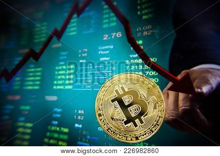 Cryptocurrency Crisis On Virtual Screen. Bitcoin And Ethereum Falls. Fall Trend.
