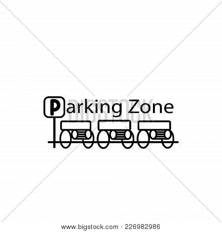 Parked Cars In A Parking Zone Over White Background. Vector Illustration.