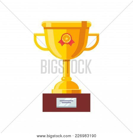 Shining Golden Cup Award Prize With Red Ribbon And Wood Pedestal. Modern Flat Style Vector Illustrat