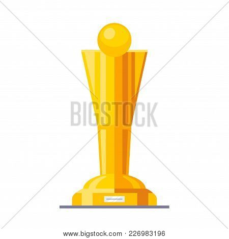 Shining Golden Cup Award Prize With Gold Pedestal. Modern Flat Style Vector Illustration Isolated On