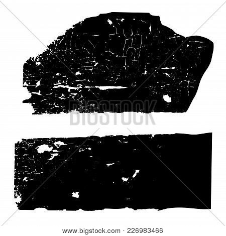 Set Of Black And White Grunge Textures With Cracked Old Paint On A Wooden Surface. Vintage Template,