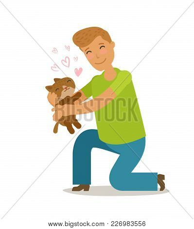 Care For Pet. Young Man Holds A Cute Kitten In His Hands. Cartoon Vector