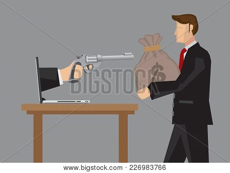 Hand Holding Gun From Computer Laptop Pointing At Businessman Carrying A Money Bag. Creative Cartoon