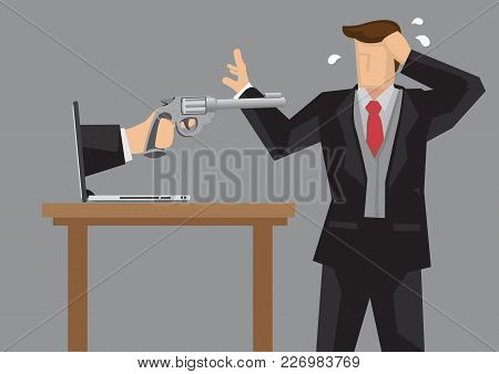 Hand Holding Gun From Computer Laptop Pointing At Panicky Businessman. Creative Cartoon Vector Illus