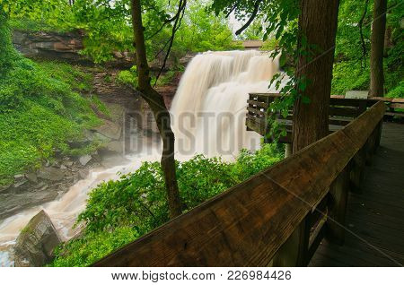 Brandywine Falls In Cuyahoga Valley National Park At Full Bore After Heavy Rains
