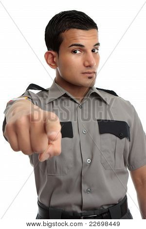 Security Or Prison Officer Pointing Finger
