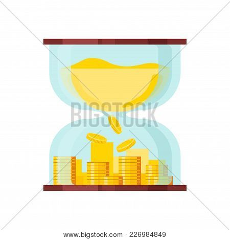 Mountain Of Coins In An Hourglass. Time Is Money Concept. Flat Vector Icon.