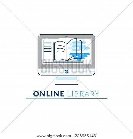 Vector Icon Style Logo Of Online Library, Storage, Epub, Txt, Book, Electronic Reader, Isolated Line