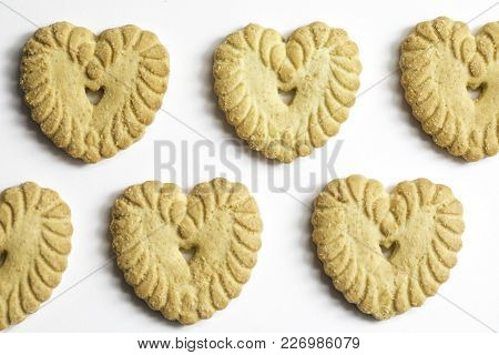 Close Up Macro Shot Of Butter Cookies Hearts