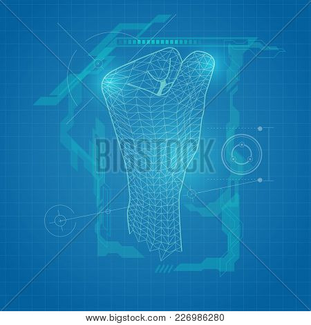 Abstract Futuristic Background, Wireframe Fist, Blueprint Technology, Digital Revolution