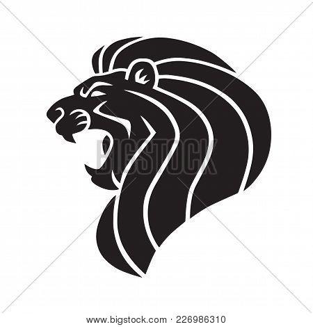 Lion Head Logo Icon Black Art Illustration Design
