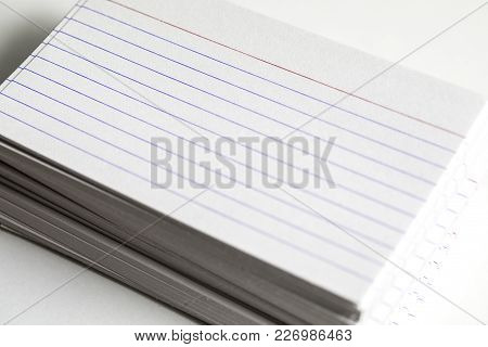 Note Cards Shot Close Up With White Being The Predominant Color