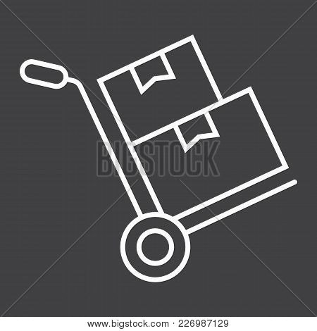 Hand Truck With Cardboard Boxes Line Icon, Logistic And Delivery, Hand Dolly Sign Vector Graphics, A