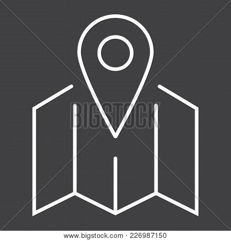 Pinpoint On Map Line Icon, Geolocation And Navigation, Gps Sign Vector Graphics, A Linear Pattern On