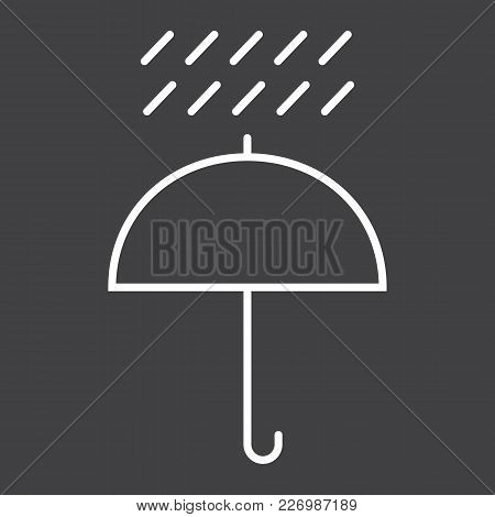 Umbrella Symbol Line Icon, Logistic And Delivery, Keep Away From Water Sign Vector Graphics, A Linea