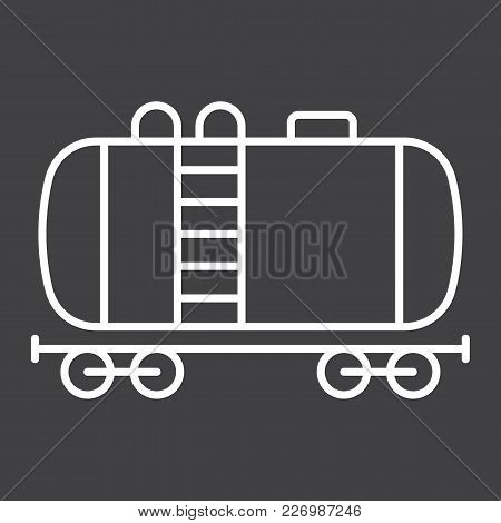 Cistern Oil Train Line Icon, Logistic And Delivery, Cargo Railway Sign Vector Graphics, A Linear Pat