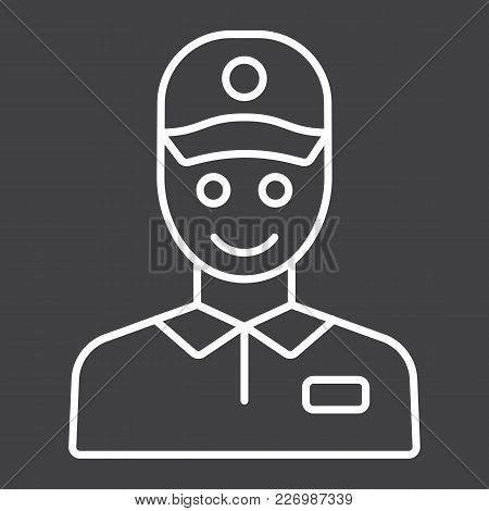 Delivery Man Line Icon, Logistic And Delivery, Courier Sign Vector Graphics, A Linear Pattern On A B