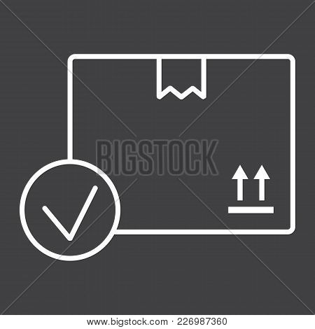 Carton Box With Check Mark Line Icon, Logistic And Delivery, Order Delivery Sign Vector Graphics, A