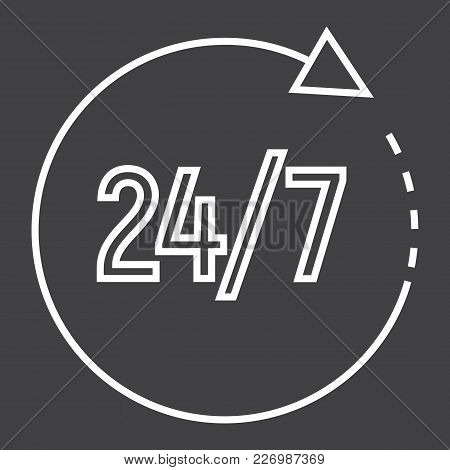 Passage Time Line Icon, 24 Hour Assistance And Round The Clock, Sign Vector Graphics, A Linear Patte
