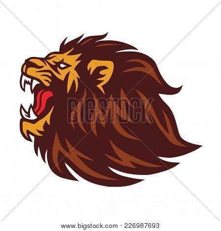 Lion Roaring Logo Mascot Design Vector Illustration