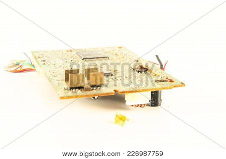 Close-up Of Vintage Pc Part Object On A White Background