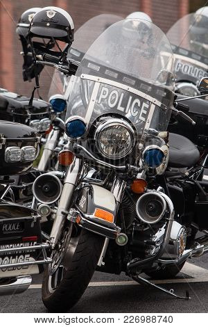 Buford, Ga - October 2017:  Several Unoccupied Police Motorcycles Are Lined Up In A Row, Before The