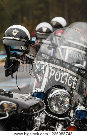 Buford, Ga - October 2017:  Unoccupied Police Motorcycles Are Lined Up In A Row, Before The Start Of