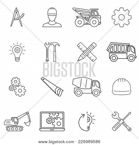 Engineering, Construction And Repair Tools Outline Icon Set. Vector Illustration.