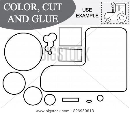 Create The Image Of Tractor (transport) Using Scissors And Glue. Educational Paper Game For Children